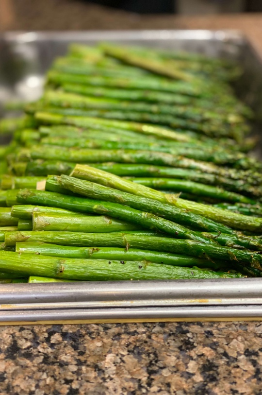 Tray of Freshly Cooked Asparagus